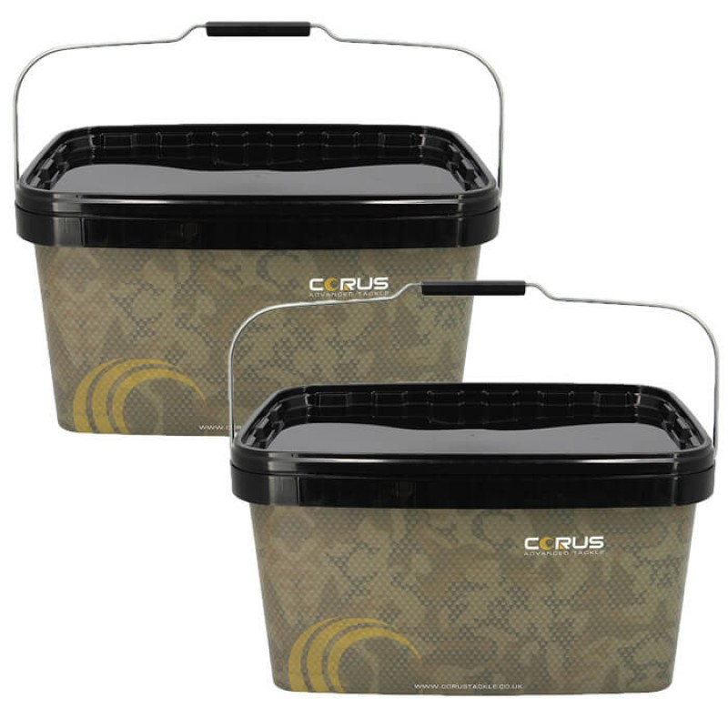 Corus 12.5 Litre Camo Bait Buckets With Liquid Feed 1l Jerry Can.